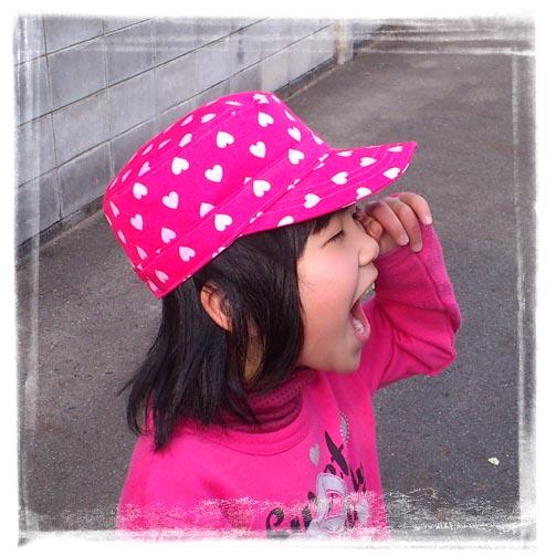 ワークキャップ女の子ピンクハート